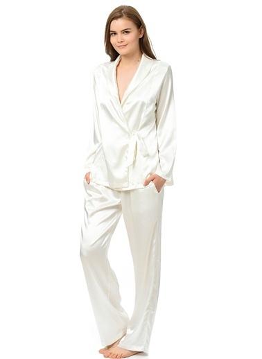Magic Form Saten Kumaşlı 4 Lü Takım Pijama Ekru